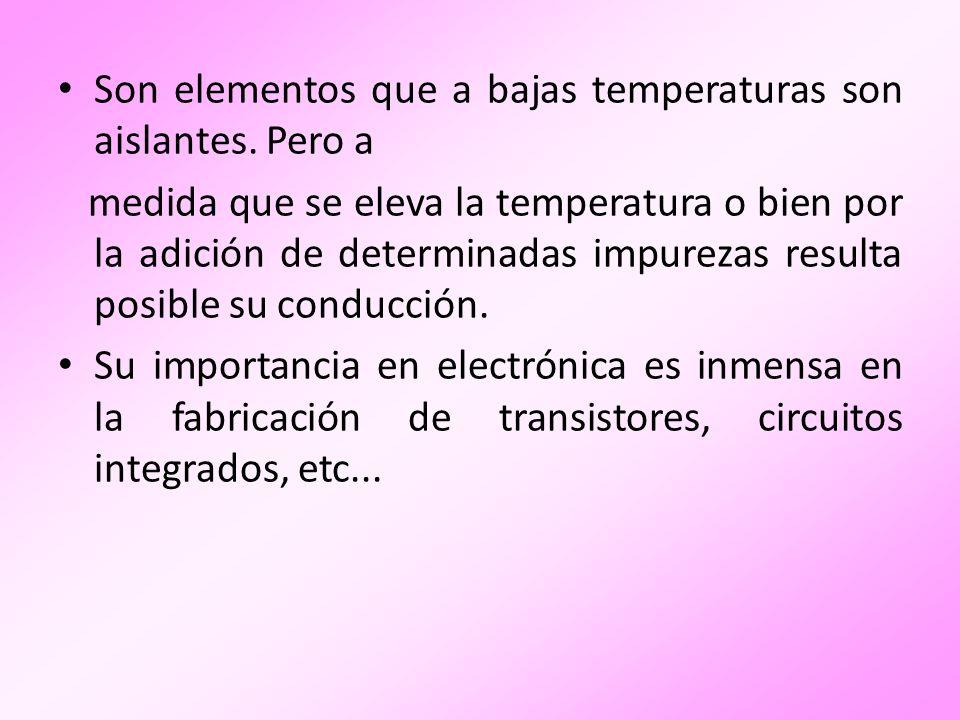 Son elementos que a bajas temperaturas son aislantes. Pero a