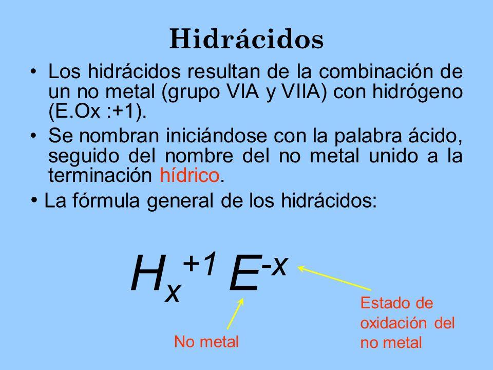Hx+1 E-x Hidrácidos La fórmula general de los hidrácidos: