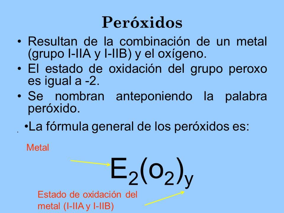 Peróxidos Resultan de la combinación de un metal (grupo I-IIA y I-IIB) y el oxígeno. El estado de oxidación del grupo peroxo es igual a -2.