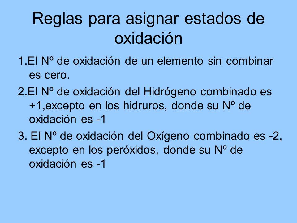 Reglas para asignar estados de oxidación
