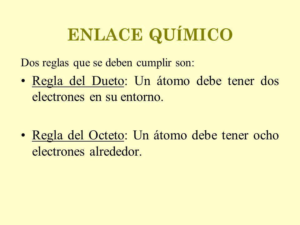 ENLACE QUÍMICO Dos reglas que se deben cumplir son: Regla del Dueto: Un átomo debe tener dos electrones en su entorno.
