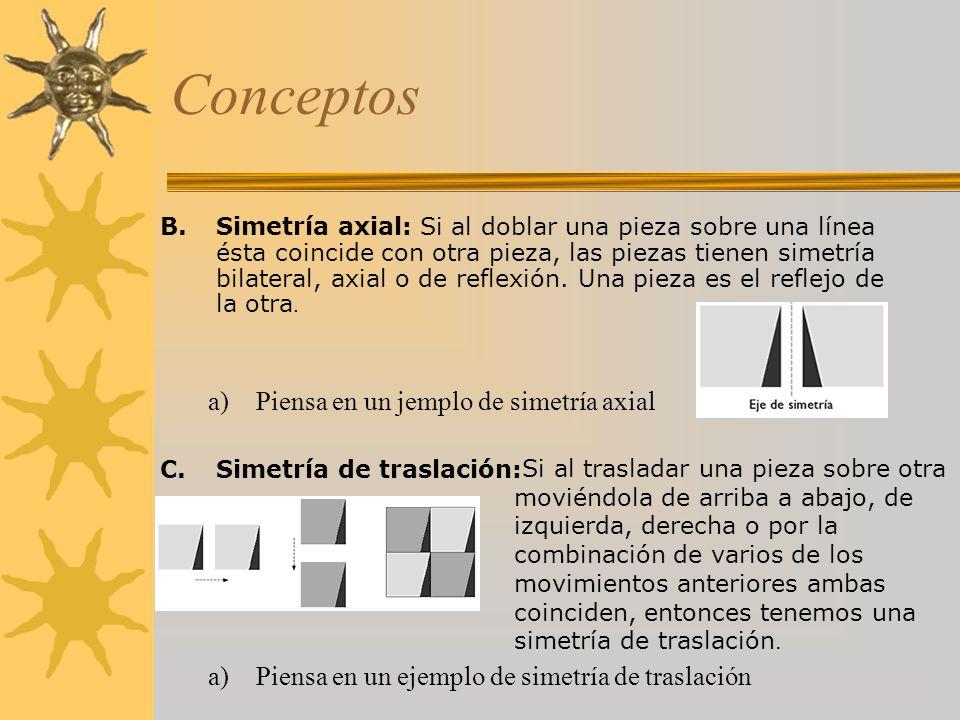 Conceptos Piensa en un jemplo de simetría axial