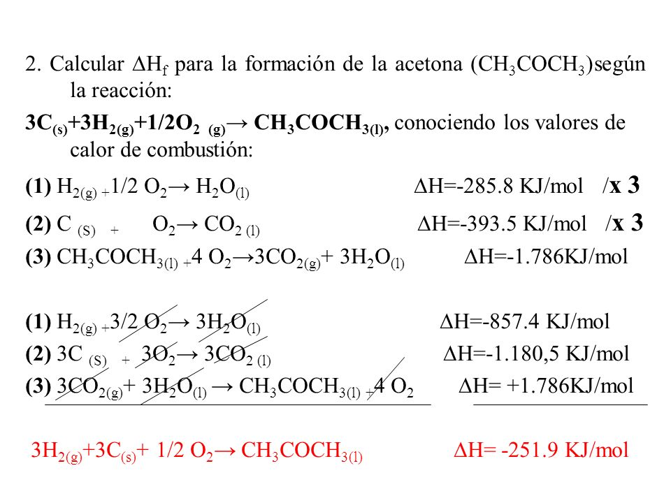 2. Calcular ∆Hf para la formación de la acetona (CH3COCH3)según la reacción: