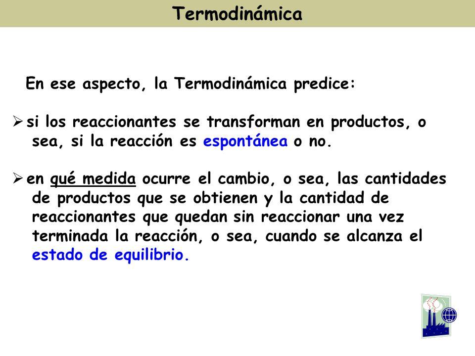 Termodinámica En ese aspecto, la Termodinámica predice: