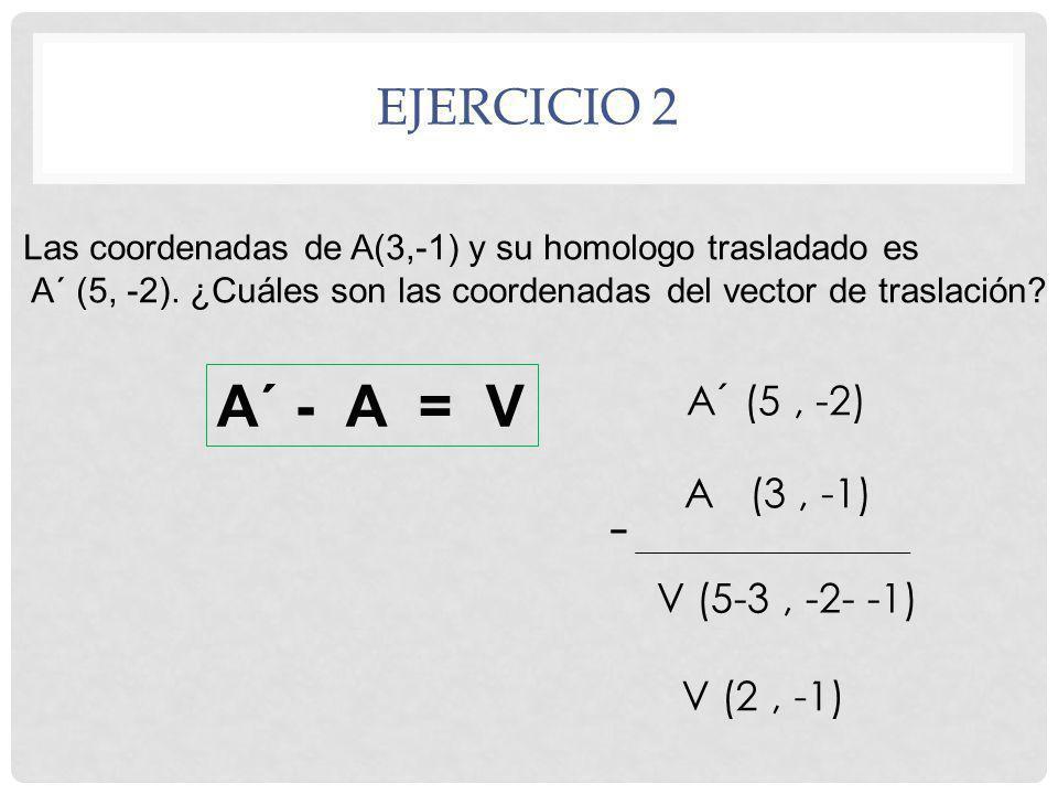 A´ - A = V - Ejercicio 2 A´ (5 , -2) A (3 , -1) V (5-3 , -2- -1)