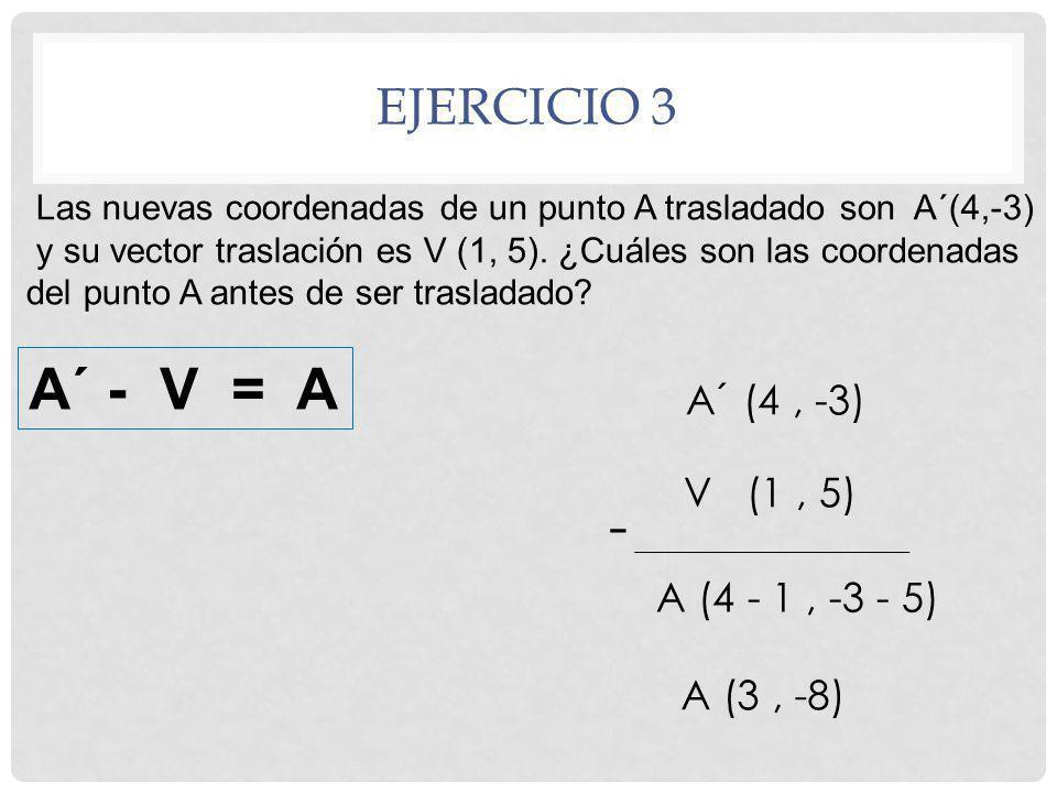 A´ - V = A - Ejercicio 3 A´ (4 , -3) V (1 , 5) A (4 - 1 , -3 - 5)