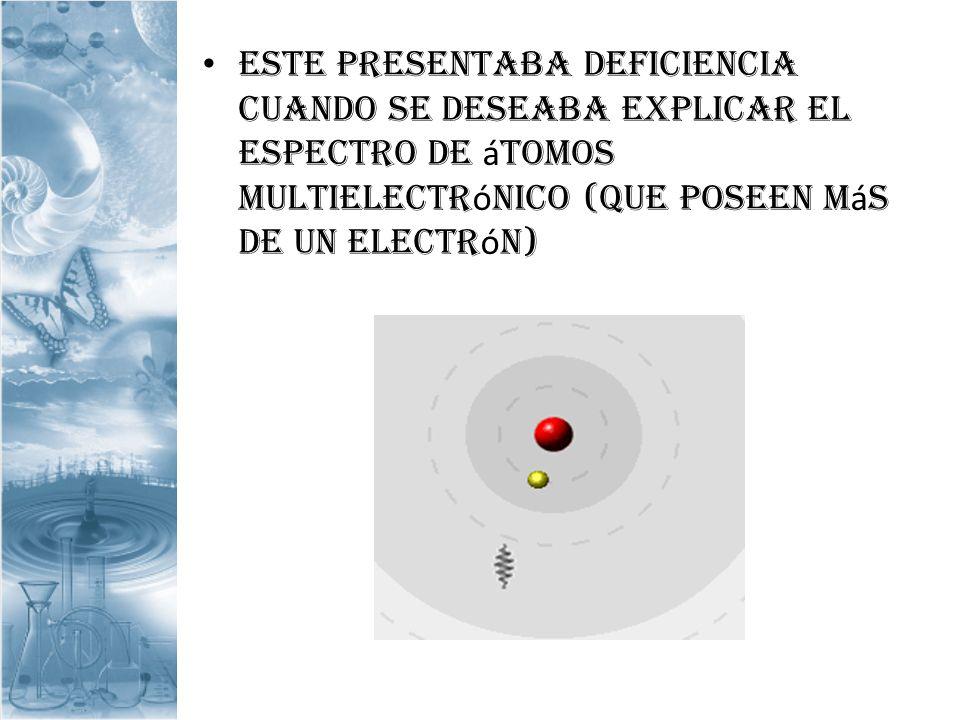 Este presentaba deficiencia cuando se deseaba explicar el espectro de átomos multielectrónico (que poseen más de un electrón)
