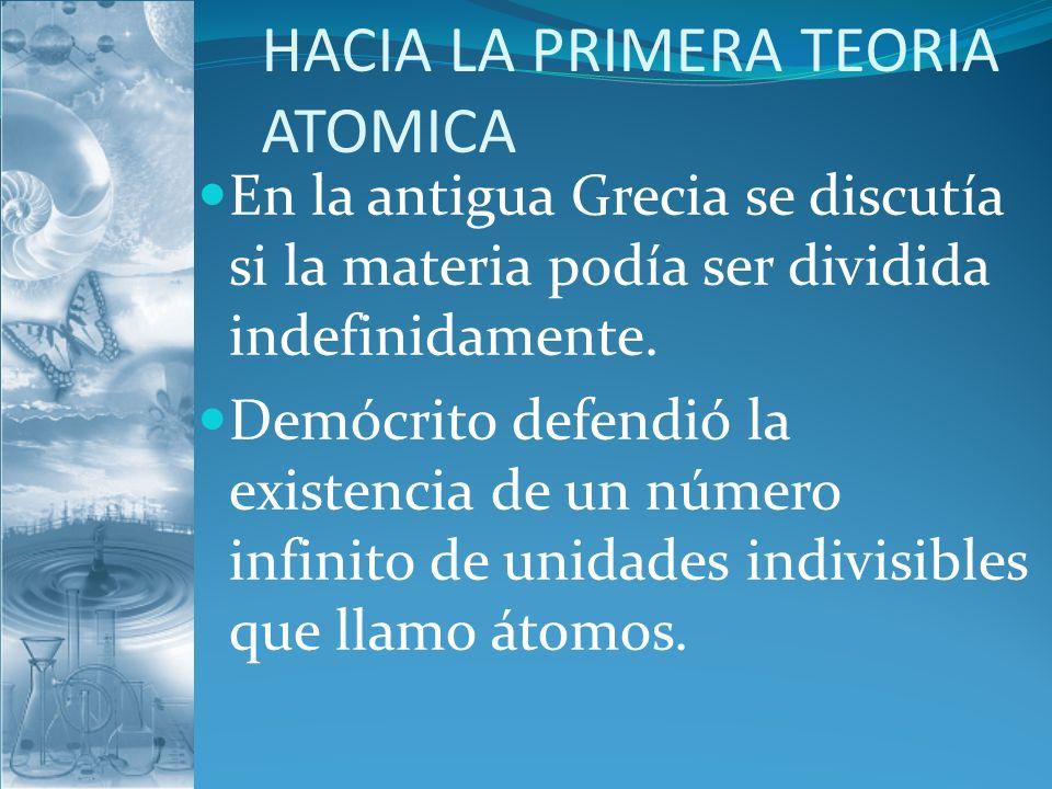 HACIA LA PRIMERA TEORIA ATOMICA