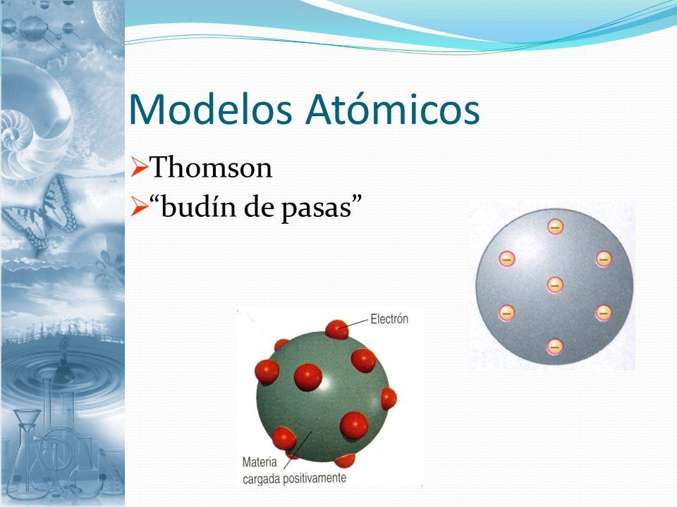 Modelos Atómicos Thomson budín de pasas