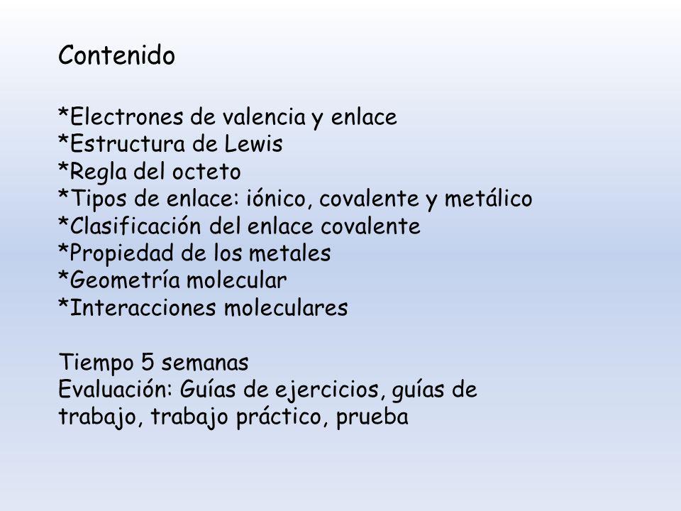 Contenido *Electrones de valencia y enlace *Estructura de Lewis