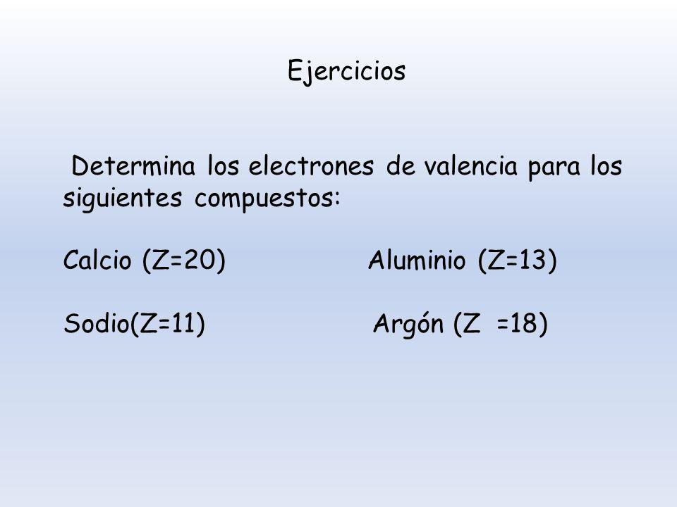 Ejercicios Determina los electrones de valencia para los siguientes compuestos: Calcio (Z=20) Aluminio (Z=13)
