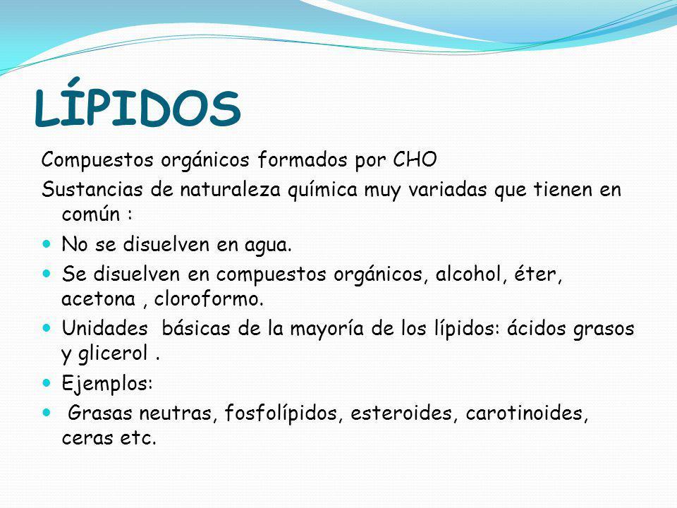 LÍPIDOS Compuestos orgánicos formados por CHO