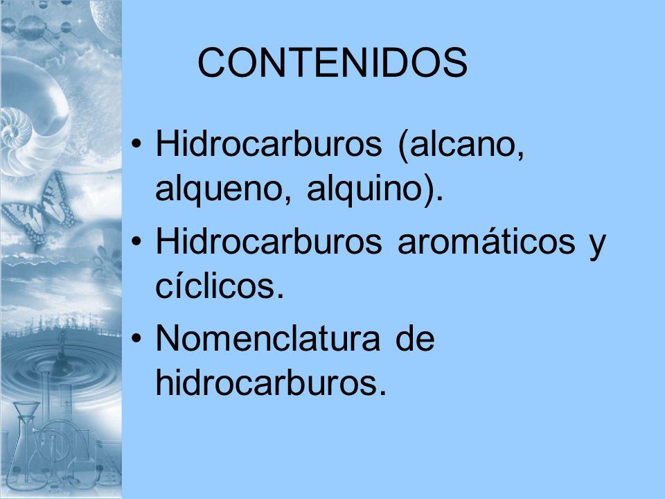 CONTENIDOS Hidrocarburos (alcano, alqueno, alquino).