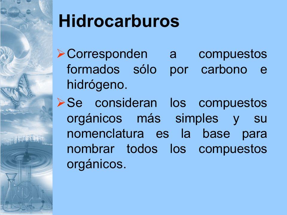 HidrocarburosCorresponden a compuestos formados sólo por carbono e hidrógeno.