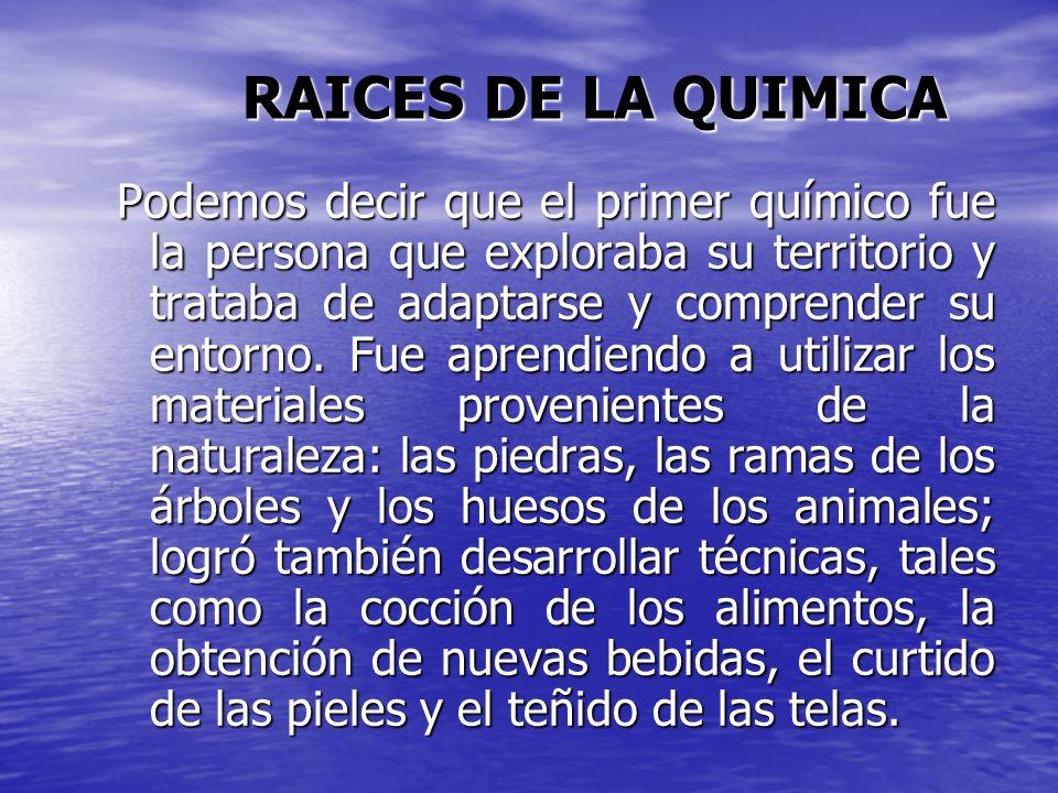 RAICES DE LA QUIMICA
