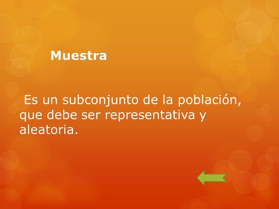 Muestra Es un subconjunto de la población, que debe ser representativa y aleatoria.