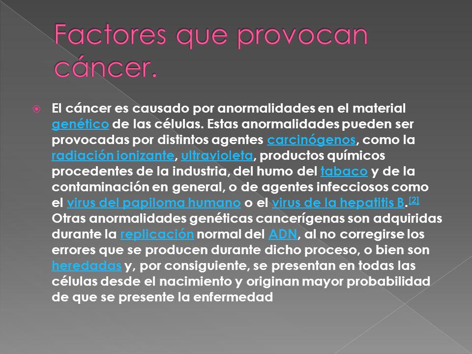 Factores que provocan cáncer.