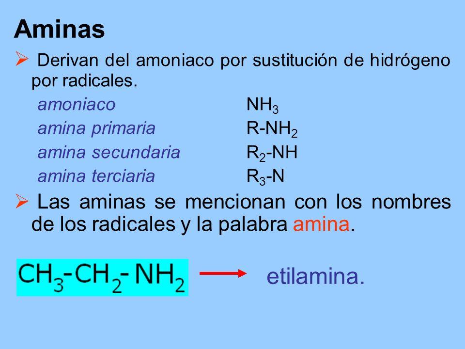 Aminas Derivan del amoniaco por sustitución de hidrógeno por radicales. amoniaco NH3. amina primaria R-NH2.