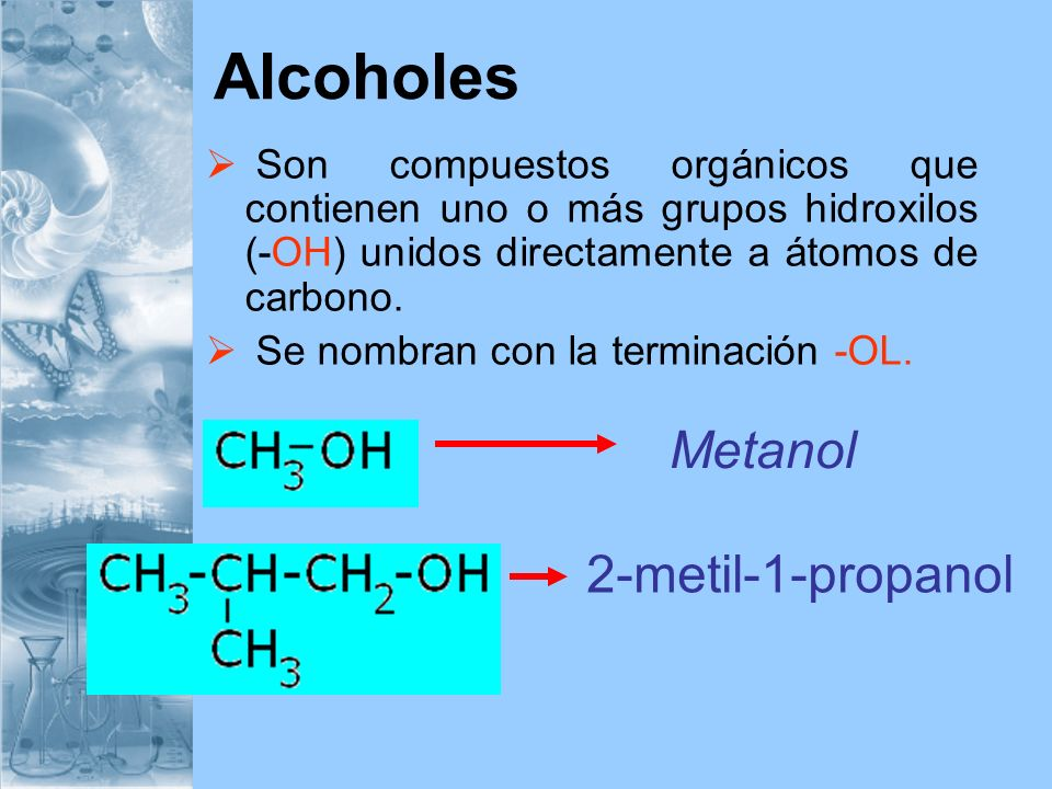 Alcoholes Metanol 2-metil-1-propanol
