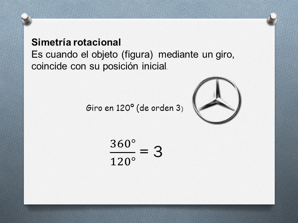 360° 120° = 3 Simetría rotacional