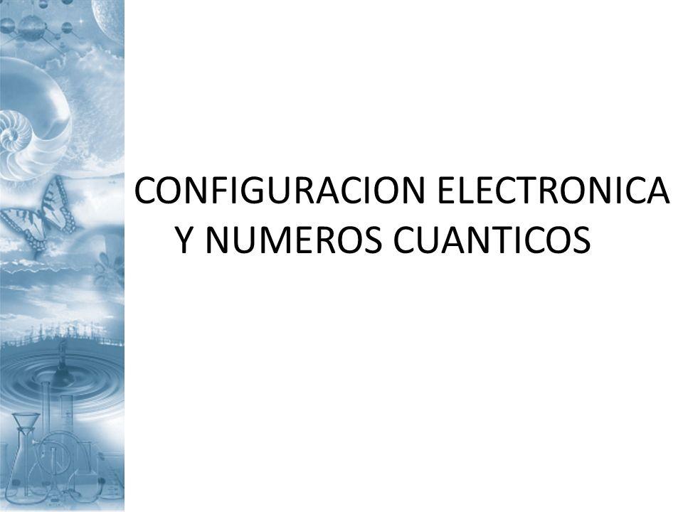 CONFIGURACION ELECTRONICA Y NUMEROS CUANTICOS