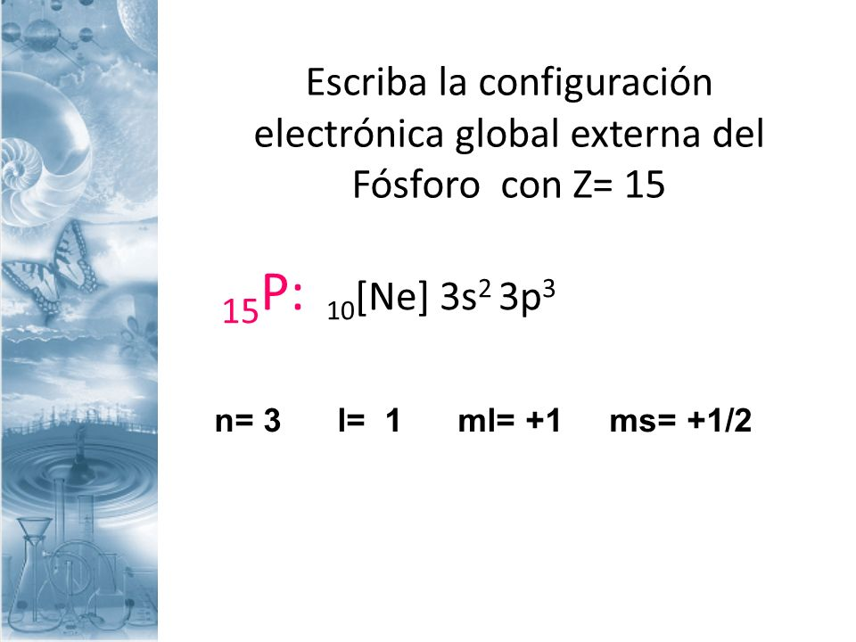 Escriba la configuración electrónica global externa del Fósforo con Z= 15