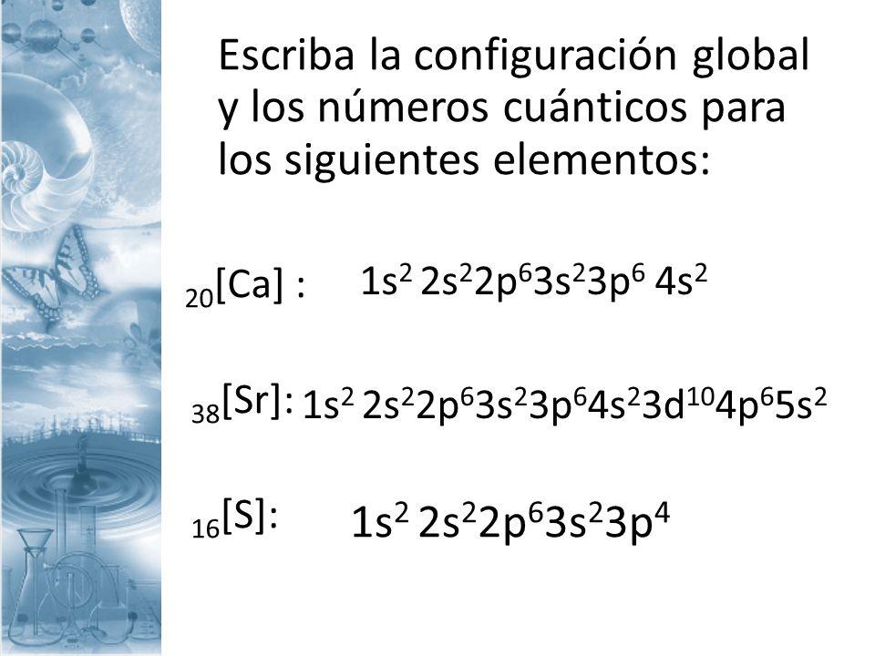 Escriba la configuración global y los números cuánticos para los siguientes elementos: