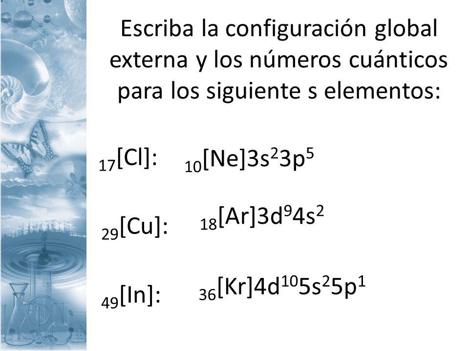 Escriba la configuración global externa y los números cuánticos para los siguiente s elementos: