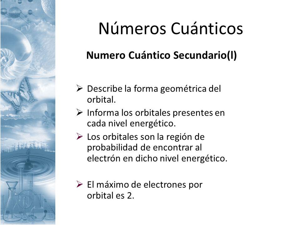 Numero Cuántico Secundario(l)