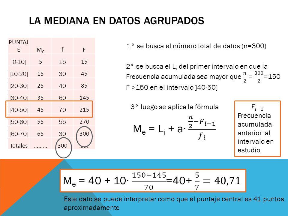 La mediana en datos agrupados