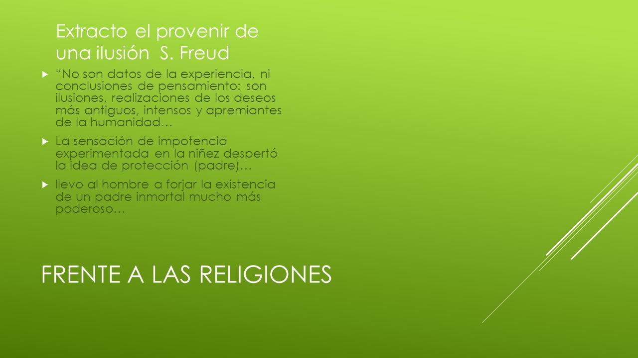 Frente a las religiones