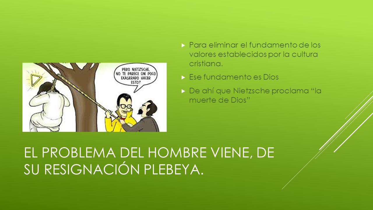 EL PROBLEMA DEL HOMBRE VIENE, DE SU RESIGNACIÓN PLEBEYA.