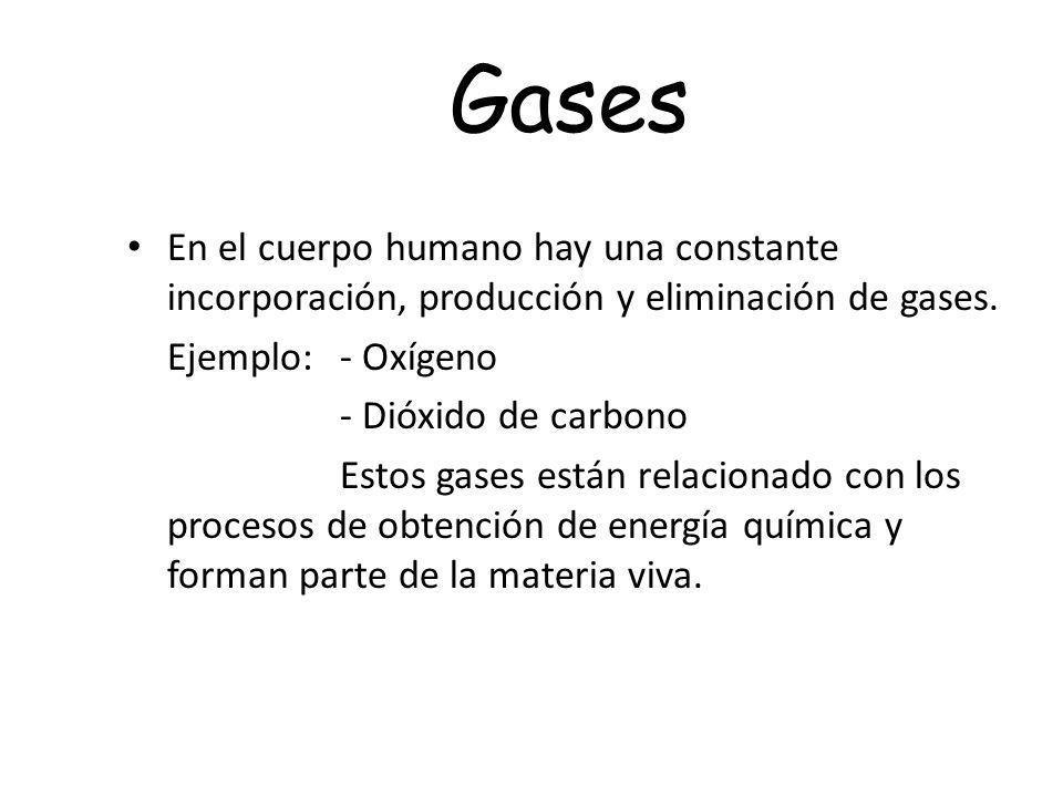 Gases En el cuerpo humano hay una constante incorporación, producción y eliminación de gases. Ejemplo: - Oxígeno.