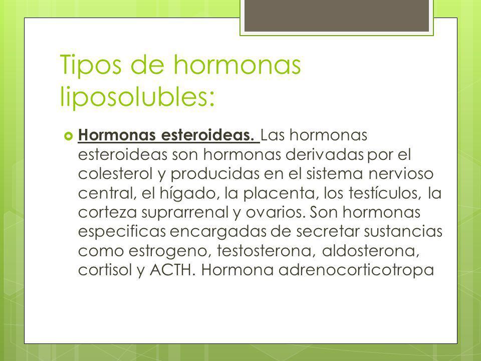 Tipos de hormonas liposolubles: