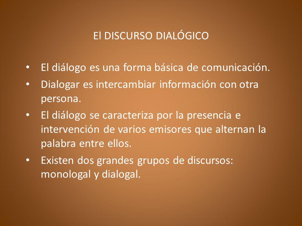 El DISCURSO DIALÓGICO El diálogo es una forma básica de comunicación.