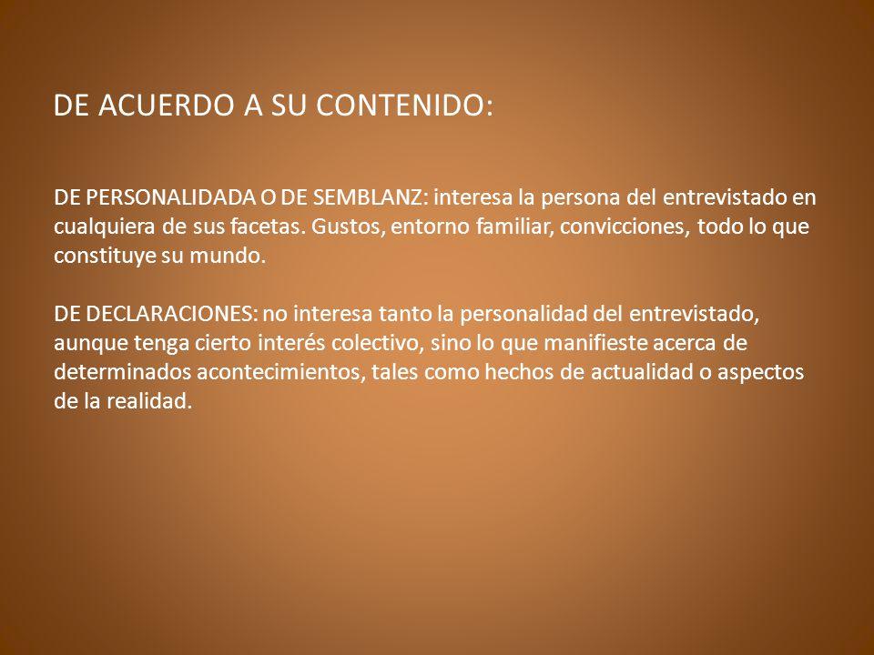 DE ACUERDO A SU CONTENIDO: