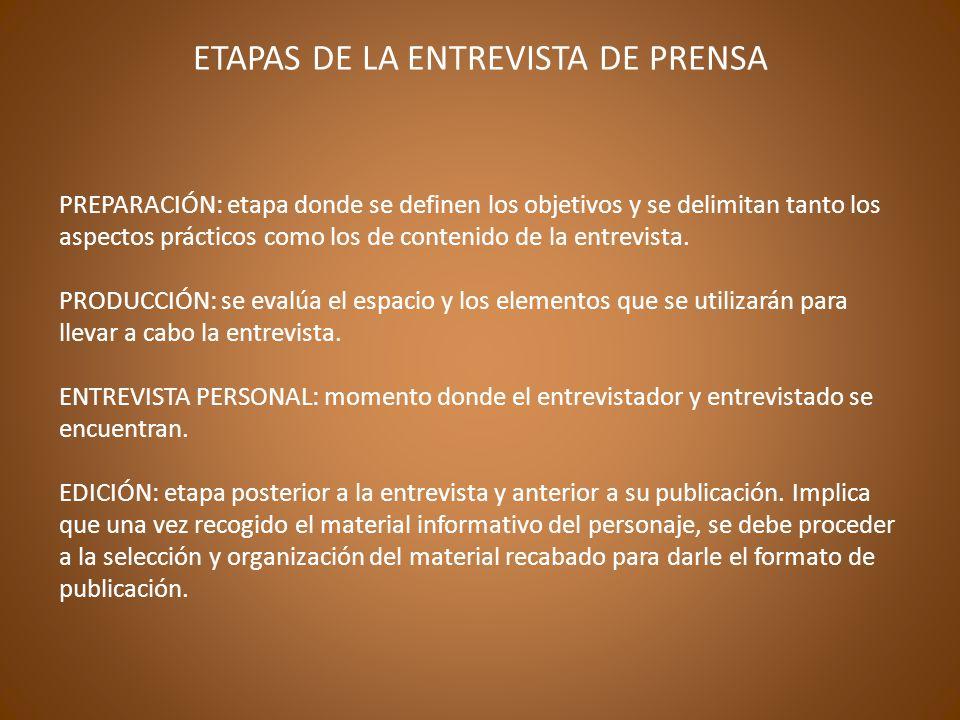 ETAPAS DE LA ENTREVISTA DE PRENSA