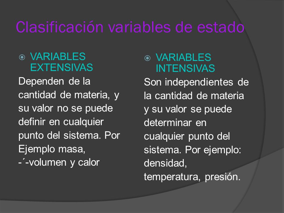 Clasificación variables de estado