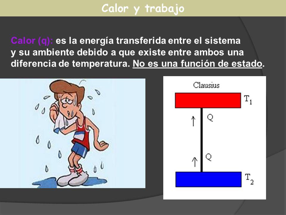 Calor y trabajo Calor (q): es la energía transferida entre el sistema