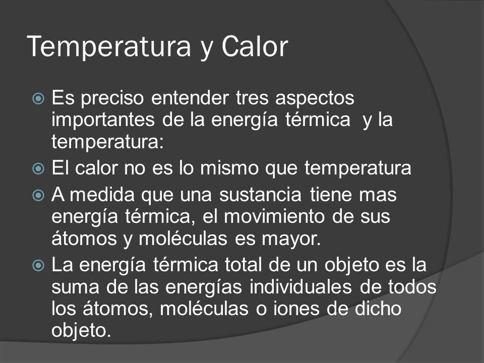 Temperatura y Calor Es preciso entender tres aspectos importantes de la energía térmica y la temperatura:
