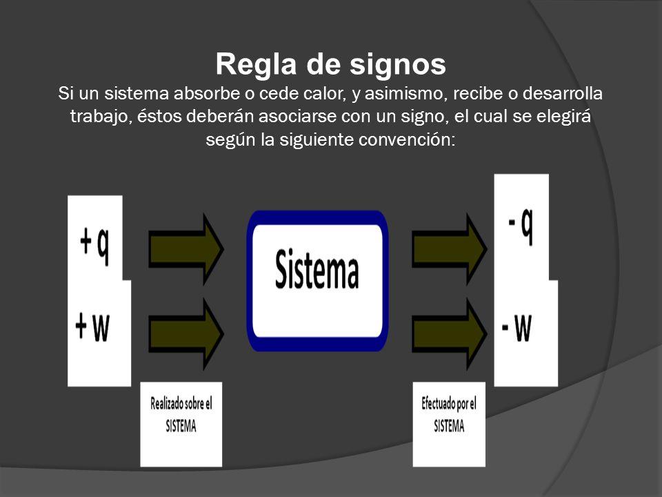 Regla de signos Si un sistema absorbe o cede calor, y asimismo, recibe o desarrolla trabajo, éstos deberán asociarse con un signo, el cual se elegirá según la siguiente convención: