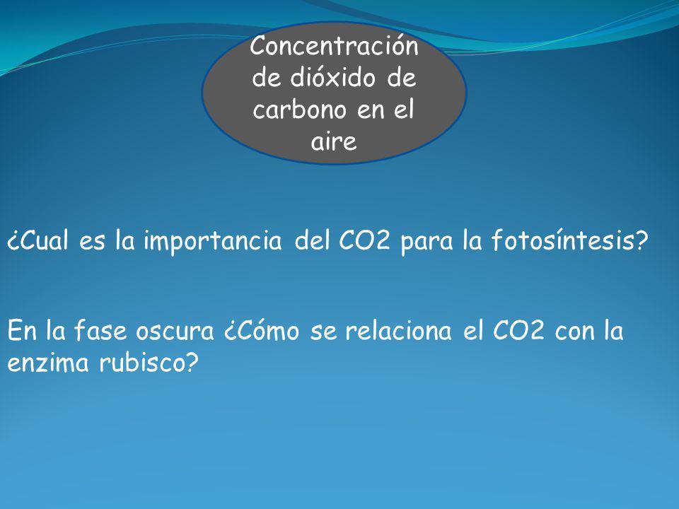 Concentración de dióxido de carbono en el aire