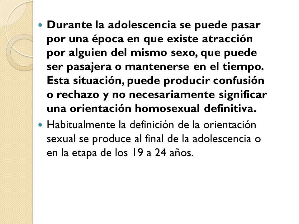 Durante la adolescencia se puede pasar por una época en que existe atracción por alguien del mismo sexo, que puede ser pasajera o mantenerse en el tiempo. Esta situación, puede producir confusión o rechazo y no necesariamente significar una orientación homosexual definitiva.