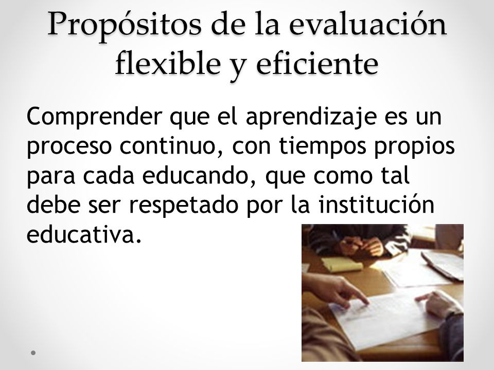 Propósitos de la evaluación flexible y eficiente