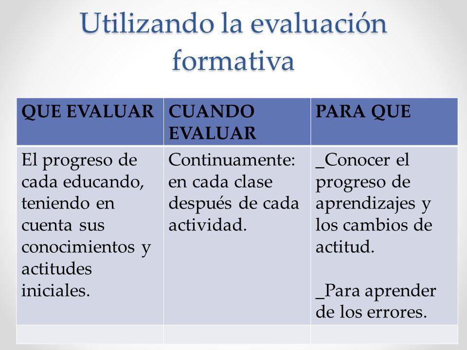 Utilizando la evaluación formativa