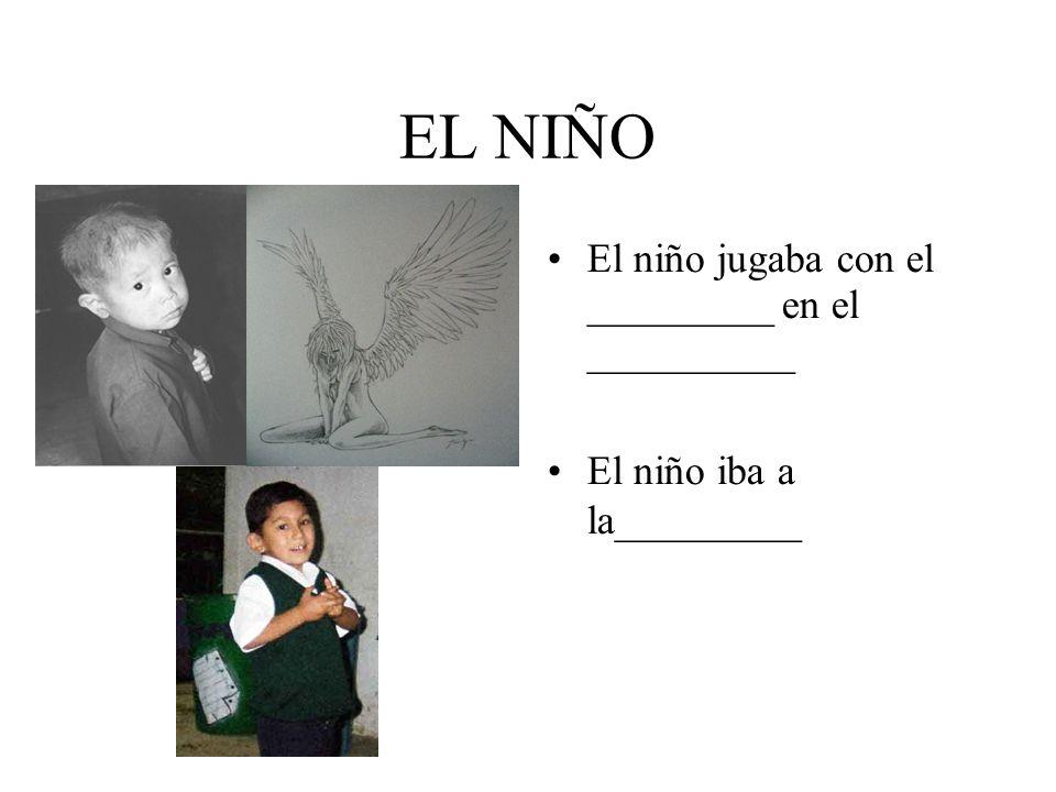 EL NIÑO El niño jugaba con el _________ en el __________