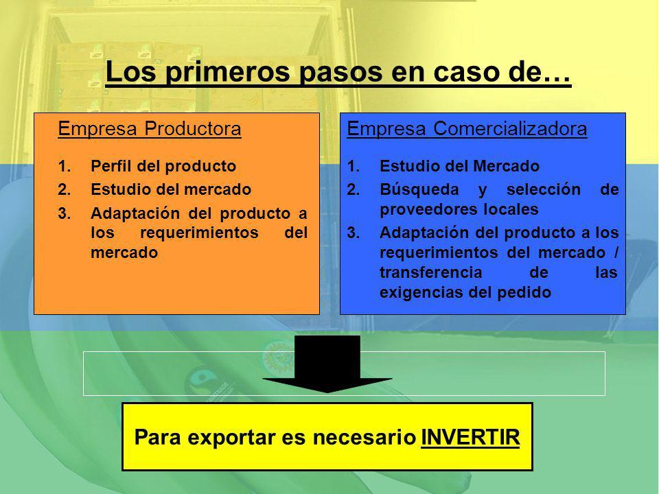 Los primeros pasos en caso de… Para exportar es necesario INVERTIR