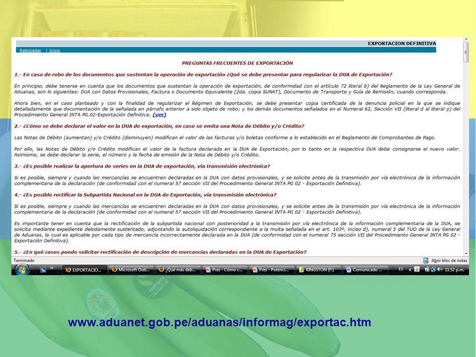 www.aduanet.gob.pe/aduanas/informag/exportac.htm