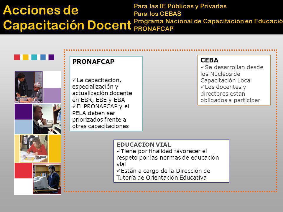 Acciones de Capacitación Docente Para las IE Públicas y Privadas