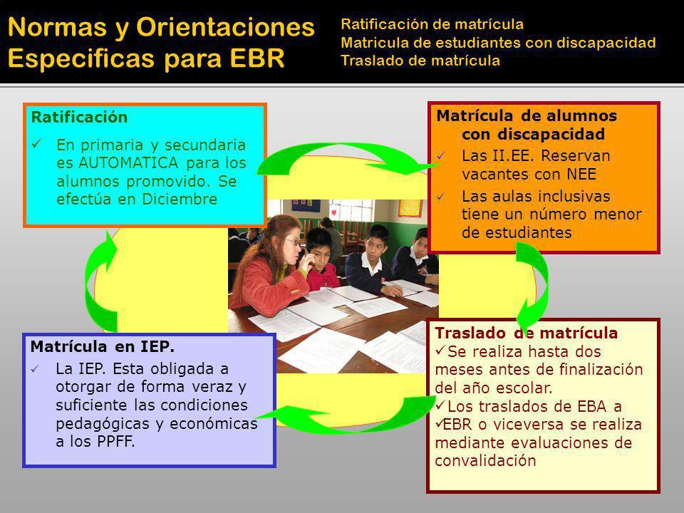 Normas y Orientaciones Especificas para EBR